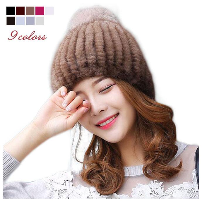 ミンク帽子 編込み フォックスファーポンポン付き帽子 レディースハット 女子キャップ ぼうし リアルファー 秋冬毛皮帽子