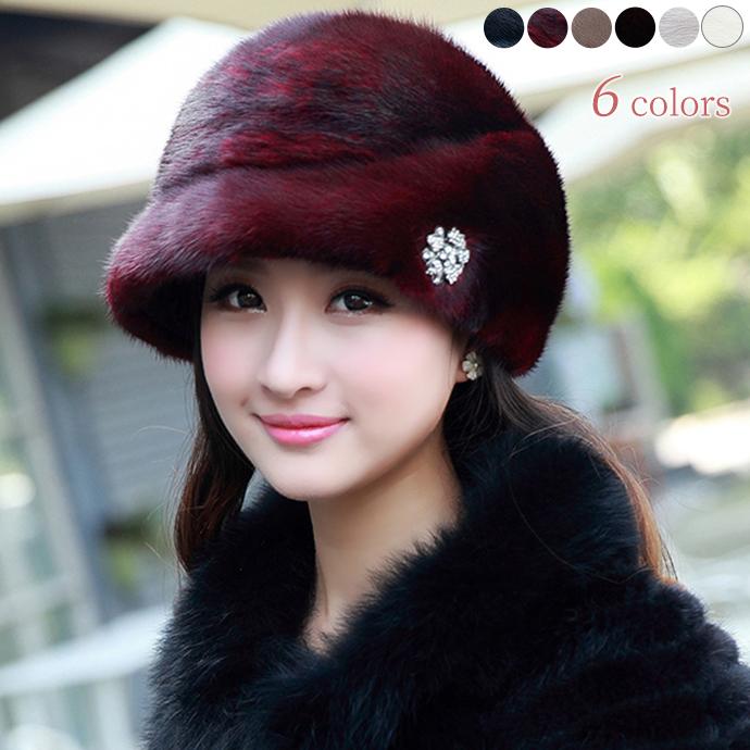 ミンクファー 帽子 リアルファー リアルミンクファー ぼうし 毛皮ハット もこもこ ふわふわファー レディース帽子 小顔効果 ダイヤ アクセサリー 防寒 保温 耳カバー 柔らかい フィット ファッション小物 冬 ファーアイテム プレゼント mink lady's