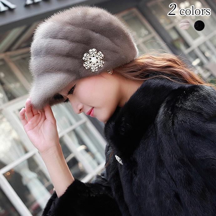 キャスケット ミンクファー 帽子 レディース ミンクハット アクセサリー付 小顔効果 ふわふわ もこもこ ぼうし 毛皮ハットファー帽子 毛皮帽子 リアルファー 冬 冬物 レディースハット ファッション おしゃれ プレゼント ギフト mink fur hat