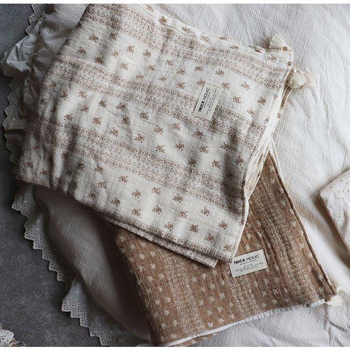new folkloret tassel blanket フォークロアタッセルブランケット ベージュ※生地はアイボリーでプリントがベージュです TRICKHOLIC トリックホリック