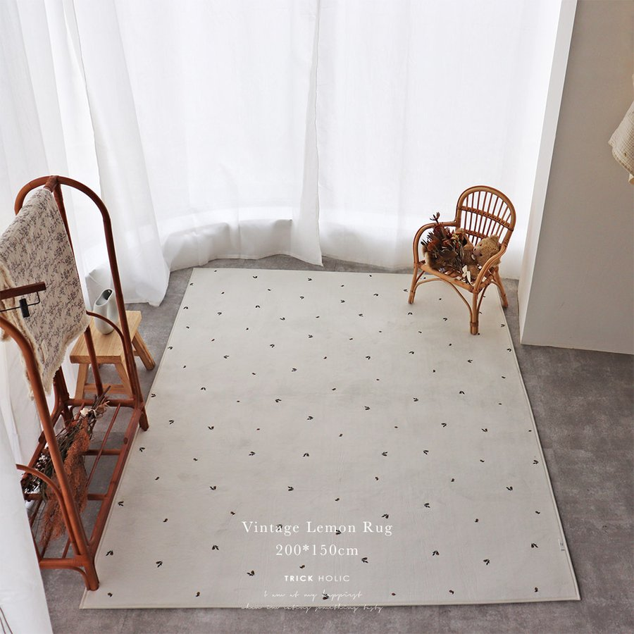 ホットカーペット床暖可能 TRICKHOLIC Lemon square rug 約150×200cm トリックホリック 誕生日プレゼント まとめ買い特価 TRICK HOLIC