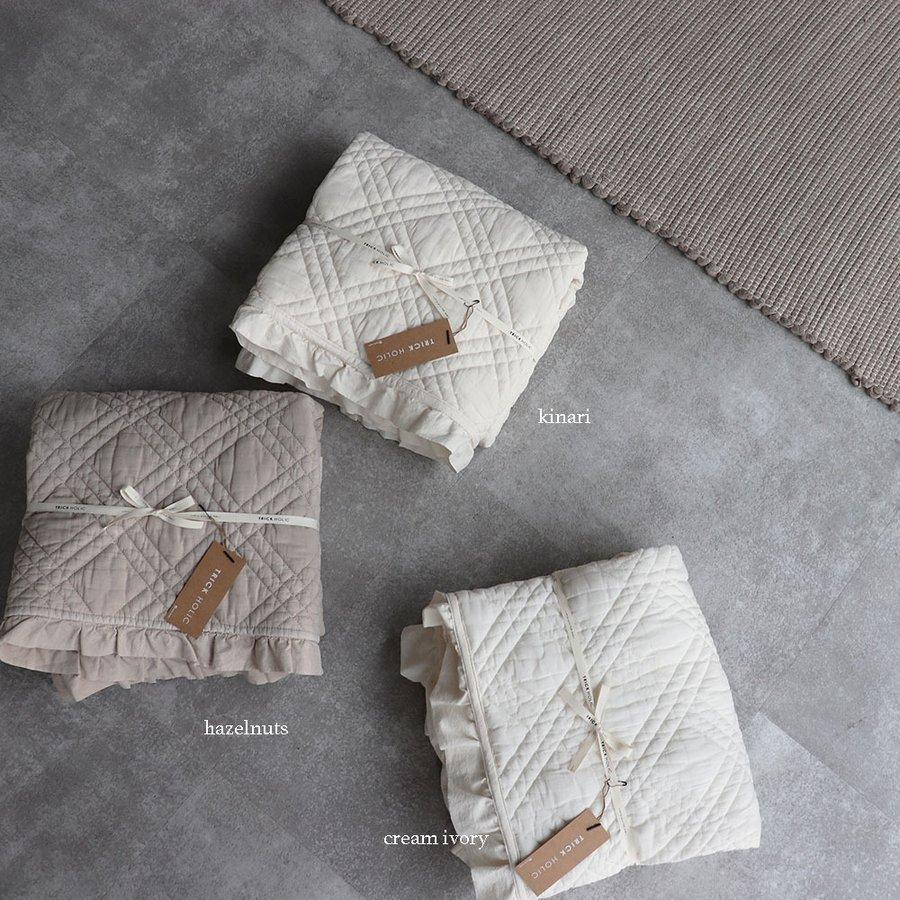 TRICKHOLICオリジナルイブル セール 登場から人気沸騰 new frill french quilt 18%OFF ibul 中綿プラスベビーサイズ 韓国製 3色 TRICK トリックホリック フリル 約80×120cm HOLIC