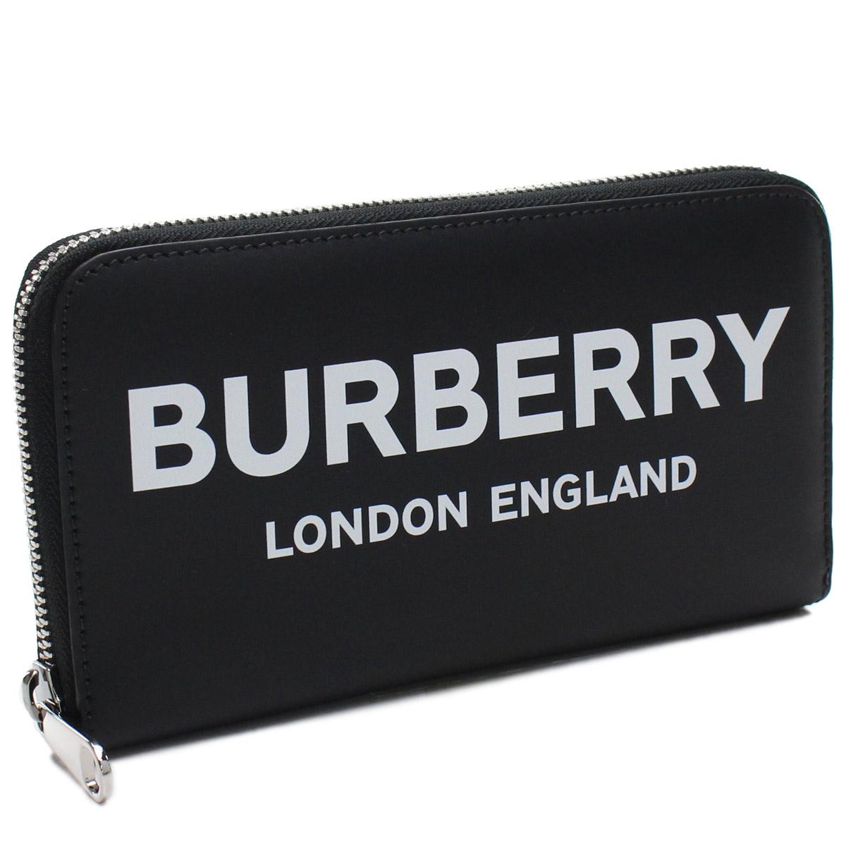 バーバリー BURBERRY ロゴブリント ラウンドファスナー 長財布 8009211 A1189 BLACK ブラック 【メンズ】