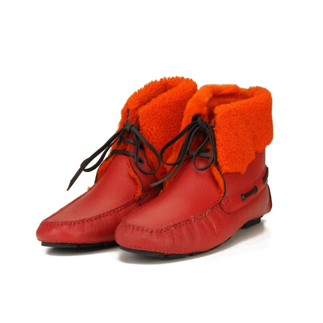ボルジョーリ Borgioli ハンドメイドムートンブーツバッファローシューズ 9011840 ROSSO レッド系/オレンジ系 メンズ【キャッシュレス 5% 還元】