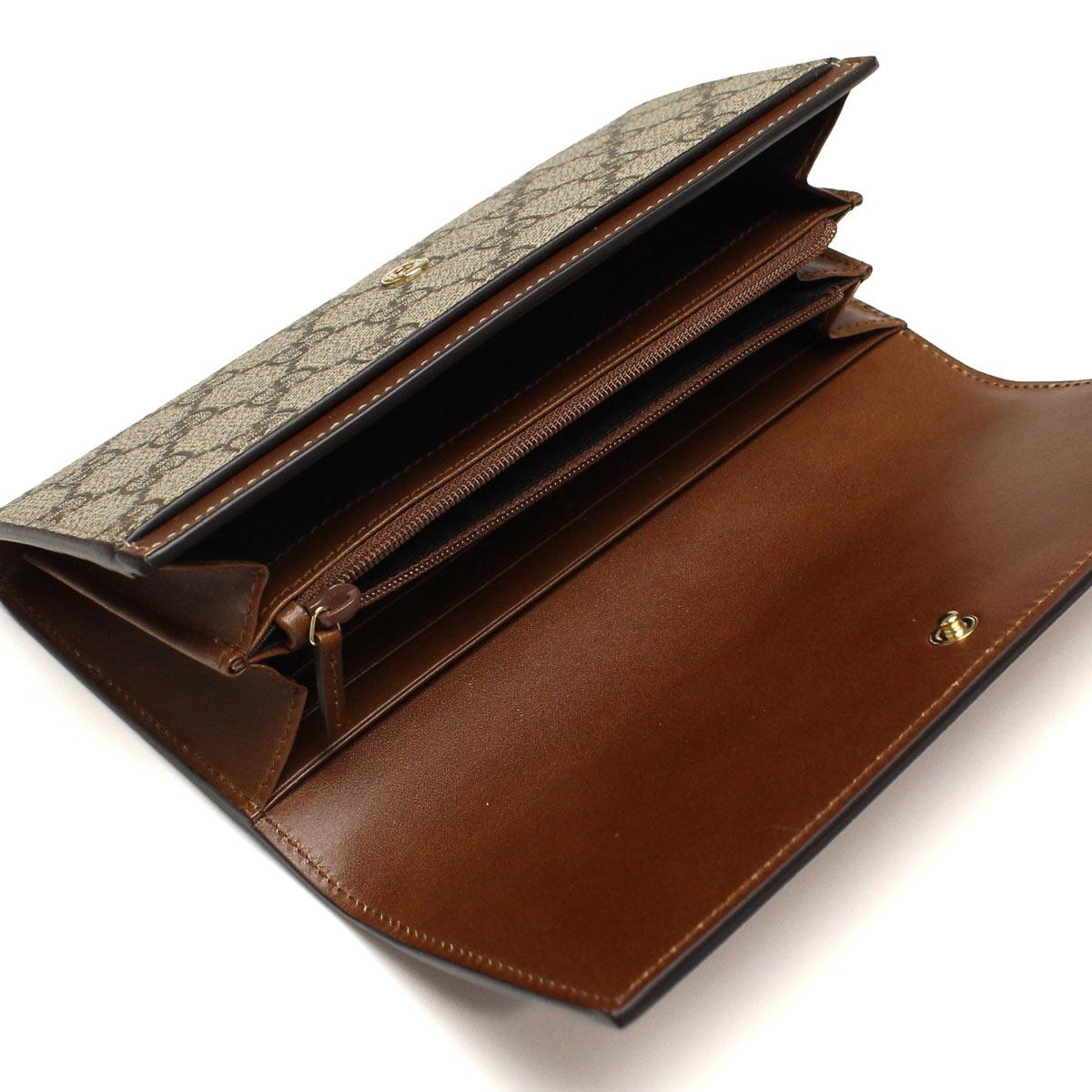 グッチ GUCCI 財布 二つ折り 長財布 小銭入付き 410100 KLQHG 8526 ブラウン系 メンズ レディース キャッシュレス 5% 還元1FTKJcl