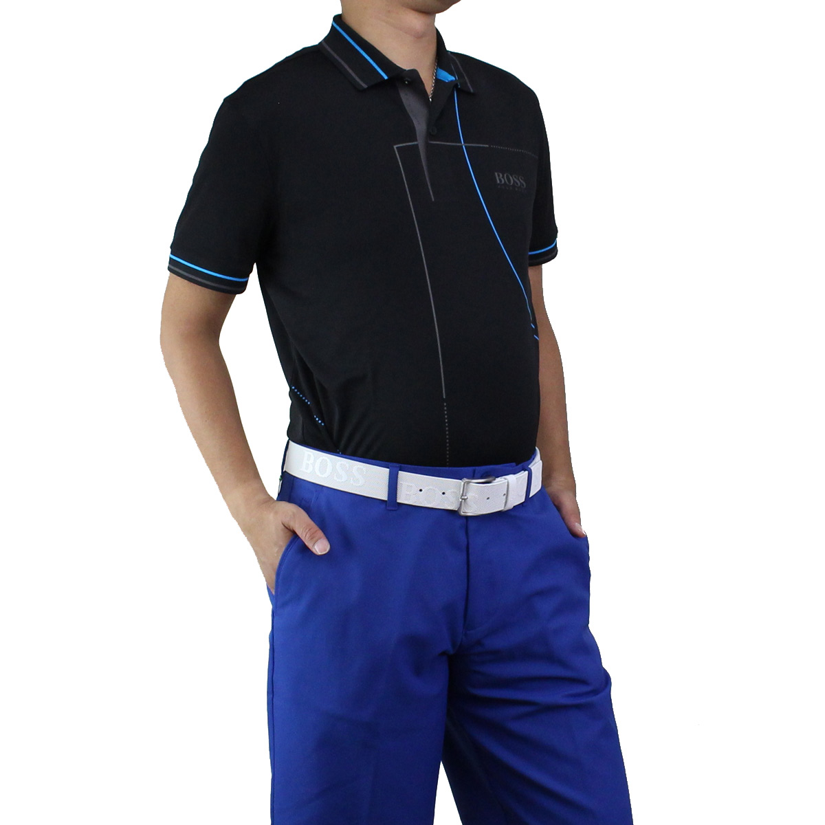 ヒューゴ ボス HUGO BOSS PADDY MK1 パディ マーク1 ポロシャツ 半袖 ゴルフウェア 50403516 10198091 001 ブラック メンズ【キャッシュレス 5% 還元】