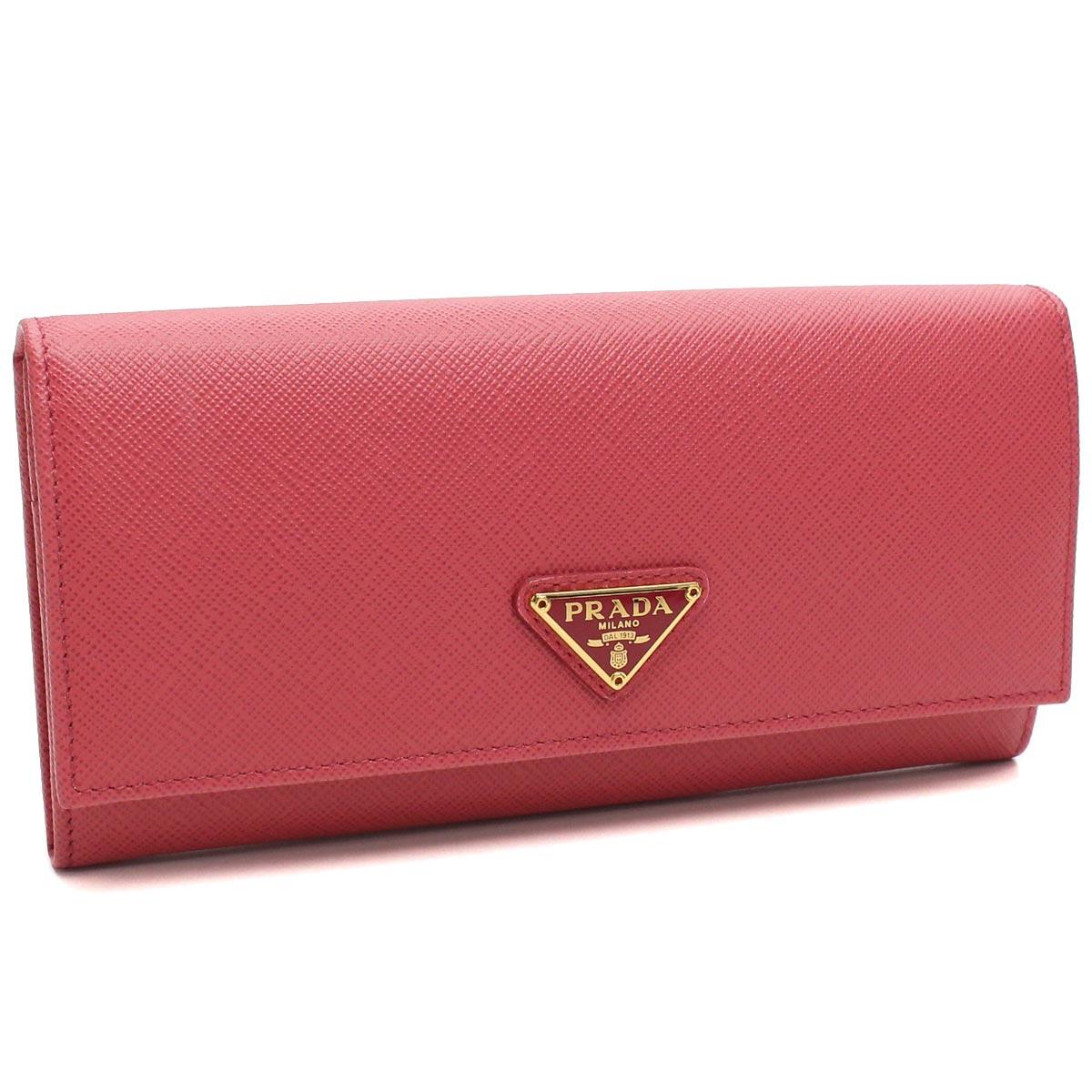 プラダ PRADA 財布 二つ折り 長財布 小銭入れ付き 1MH132 QHH F0505 PEONIA ピンク系 レディース サフィアーノ