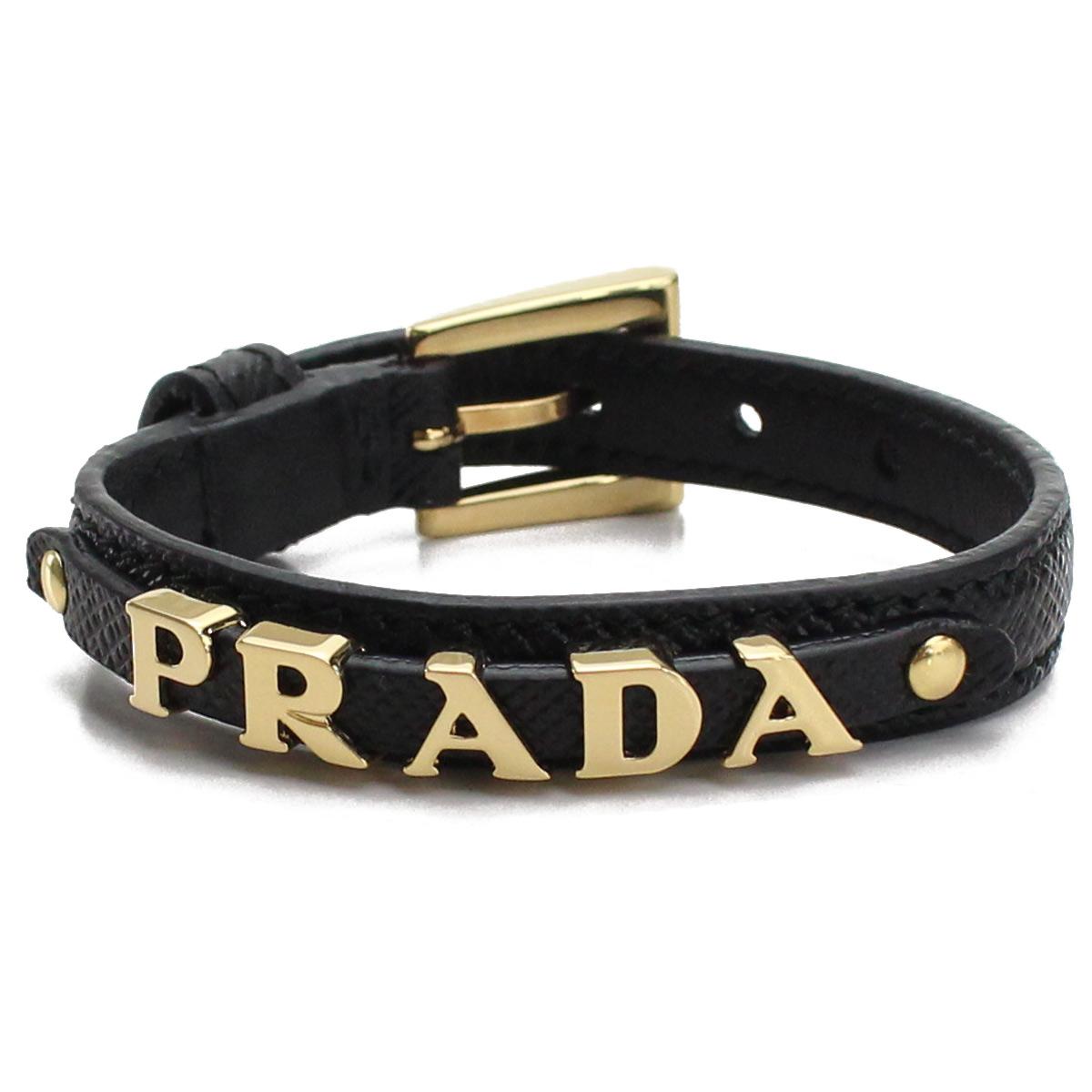 プラダ PRADA ロゴ入り サフィアーノ レザー ブレスレット 1IB217 053 F0002 NERO ブラック レディース gsw-5
