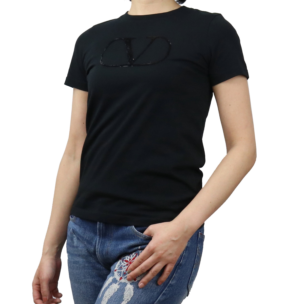 公式 ※ 送料無料 超激安 ラッピング無料 ヴァレンティノ VALENTINO レディース-Tシャツ UB3MG07Z 0NO レディース bos-18 ブラック ts-01 5Q2 apparel-01