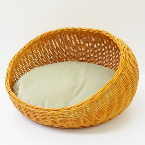 ラグジュアリーラタンベッド ビーズクッション付き rattan round bed honey○
