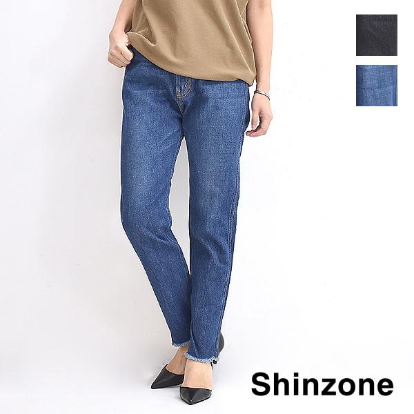 【タイムセール!15%OFF】THE SHINZONE シンゾーン SLIM CUT OFF スリムカットオフデニムパンツ 19SMSPA02 レディース 【送料無料】【送料無料】【ブラック/ブルー】【返品・交換不可】
