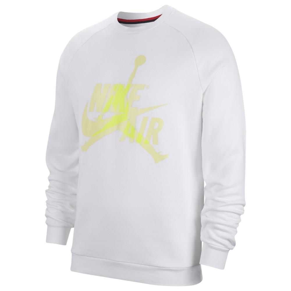 ジョーダン メンズ Jordan Jumpman Classics Fleece Crew スウェットシャツ トレーナー White/Luminous Green