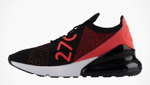 Kie Ney AMAX Lady's woman Nike Air Max 270 Flyknit running shoes sneakers BlackYellow StrikeBright Crimson