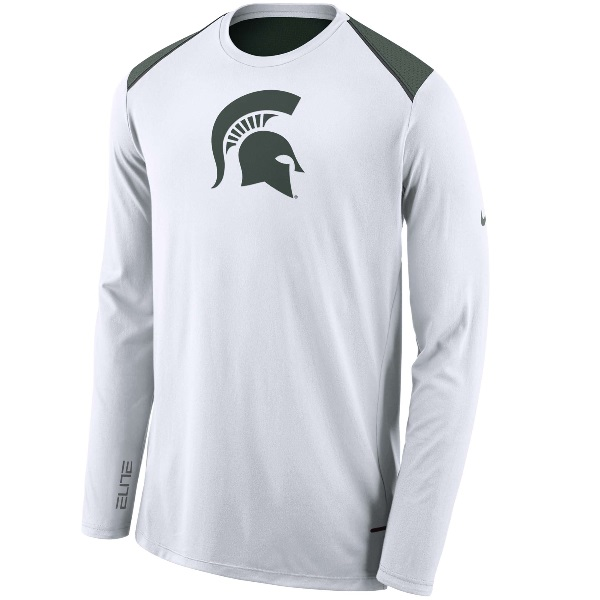 Michigan State Spartans Nike 2017-2018 Elite Basketball Performance Long Sleeve Shooter Top T-Shirt メンズ White/Green ナイキ ロンT Tシャツ NCAA バスケ ミシガンステイト fa