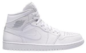 ジョーダン メンズ スニーカー Jordan AJ 1 Mid レトロ ミドルカット White/Pure Platinum/White