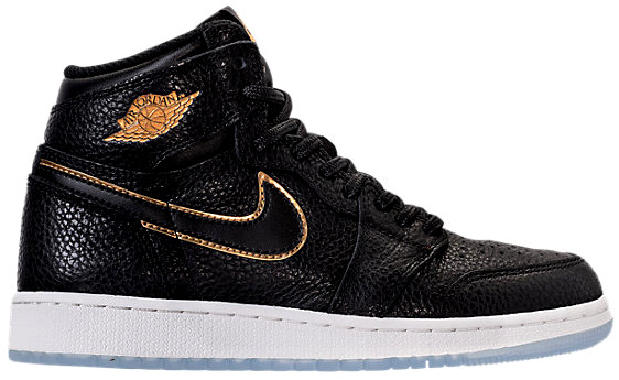 ジョーダン キッズ/レディース Jordan Retro 1 High OG スニーカー Black/Metallic Gold/Summit White