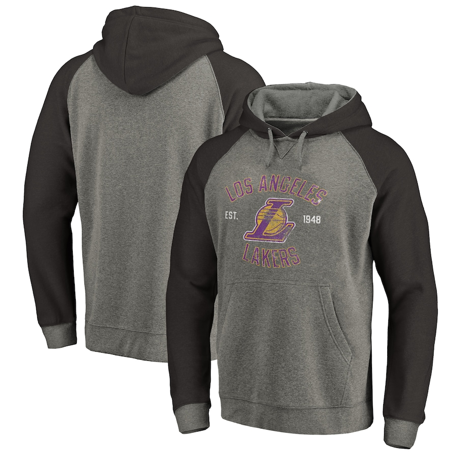 メンズ Los Angeles Lakers Fanatics Branded Heritage Tri-Blend Raglan Pullover Hoodie パーカー Heathered Gray