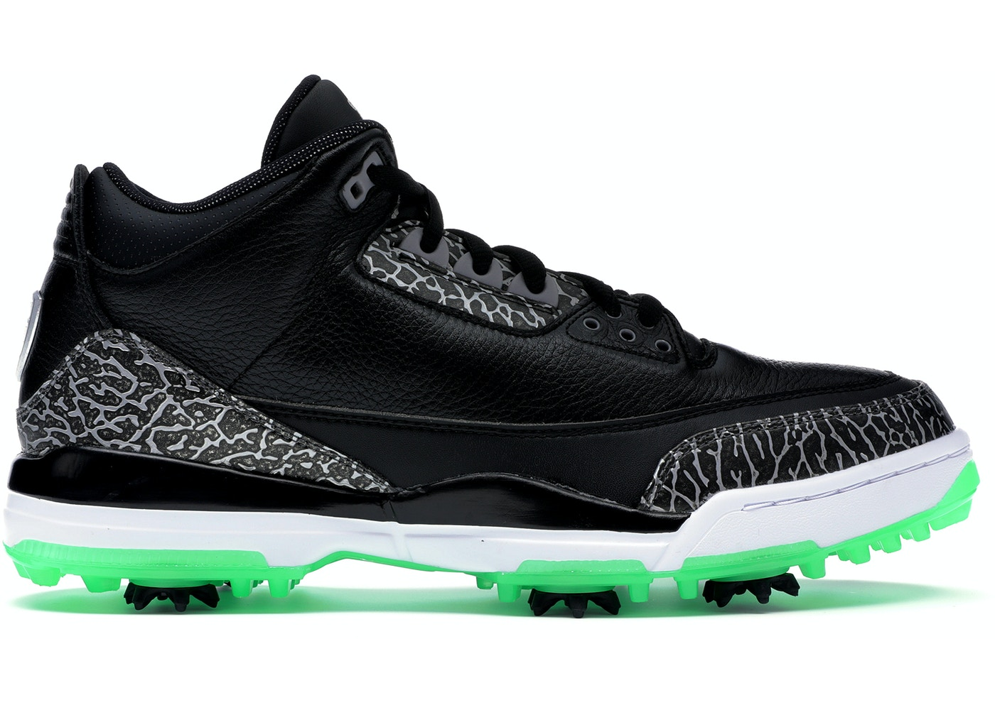 ジョーダン メンズ レトロ3 Air Jordan 3 Retro Low Golf ゴルフシューズ BLACK/BLACK-GREEN GLOW