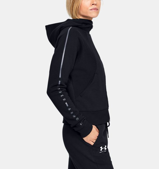 アンダーアーマー レディース パーカー Under Armour Microthread Fleece Graphic Full Zip Graphic フーディー Black