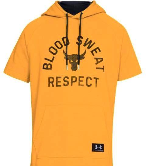 アンダーアーマー メンズ Under Armour x Project Rock Respect Hoodie T-Shirt フード Tシャツ パーカー Steeltown Gold