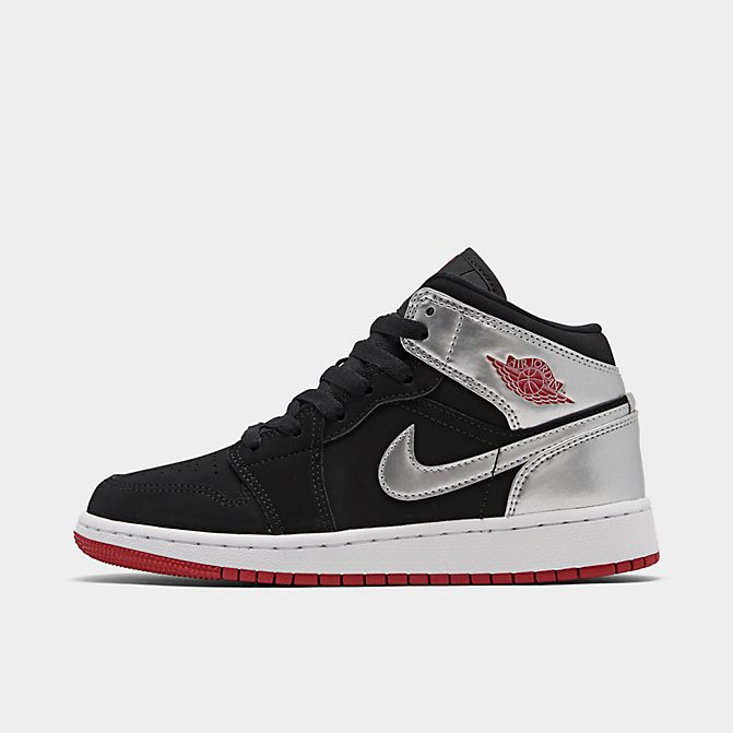 ジョーダン キッズ/レディース Air Jordan 1 Mid SE GS スニーカー Black/Gym Red/Metallic Silver/White