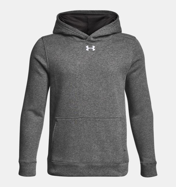 アンダーアーマー ボーイズ/キッズ パーカー Under Armour Hoodie UA Hustle Fleece フーディ Carbon Heather / White