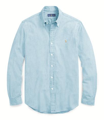 POLO RALPH LAUREN ポロ ラルフローレン メンズ Classic Fit Chambray BUTTON-DOWN SHIRTS シャツ CHAMBRAY