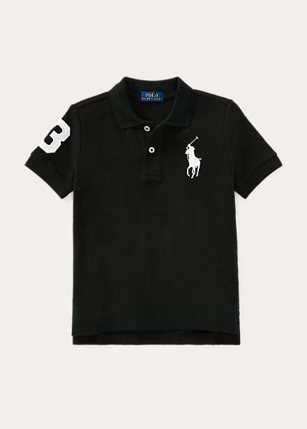 ラルフローレン 2T-7 ボーイズ/キッズ Polo Ralph Lauren Big Pony Cotton Mesh Polo ポロシャツ 半袖 Polo Black/White 男の子