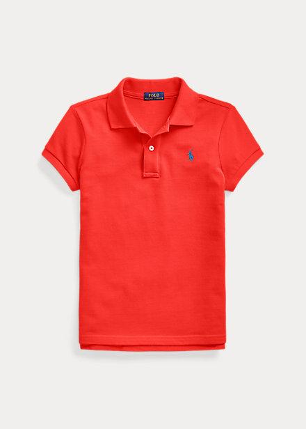 ラルフローレン 7-16 ガールズ/キッズ Polo Ralph Lauren Cotton Mesh Polo Shirt ポロシャツ 半袖 African Red 女の子