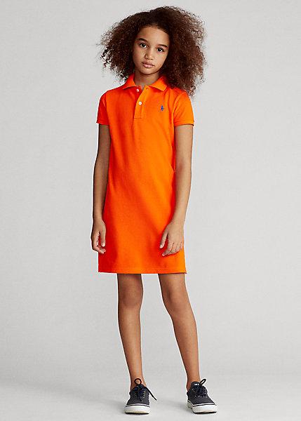 ポロ ラルフローレン 7-16 ガールズ/キッズ Polo Ralph Lauren Cotton Mesh Polo Dress ワンピース Sailing Orange 女の子