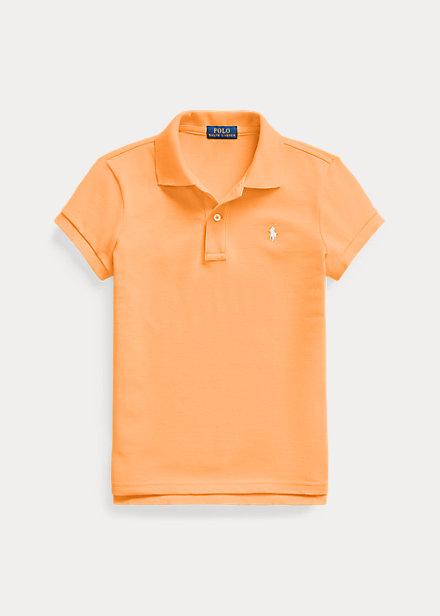 Cotton Key Polo Lauren ポロシャツ Orange Shirt Mesh 女の子 ガールズ/キッズ Ralph 7-16 Polo ラルフローレン West 半袖