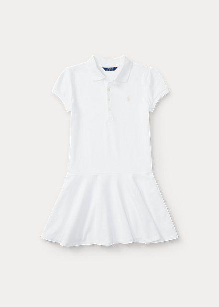 ラルフローレン Stretch Dress Mesh Polo ガールズ/キッズ Ralph 女の子 Cotton 7-16 Polo Lauren ポロ White ワンピース