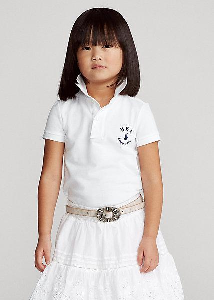ラルフローレン 2-6X ガールズ/キッズ Polo Ralph Lauren Flag Cotton Mesh Polo Shirt ポロシャツ 半袖 White 女の子