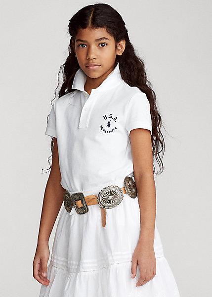Mesh Cotton Shirt ポロシャツ ガールズ/キッズ 7-16 Polo 半袖 Polo 女の子 ラルフローレン Lauren White Flag Ralph