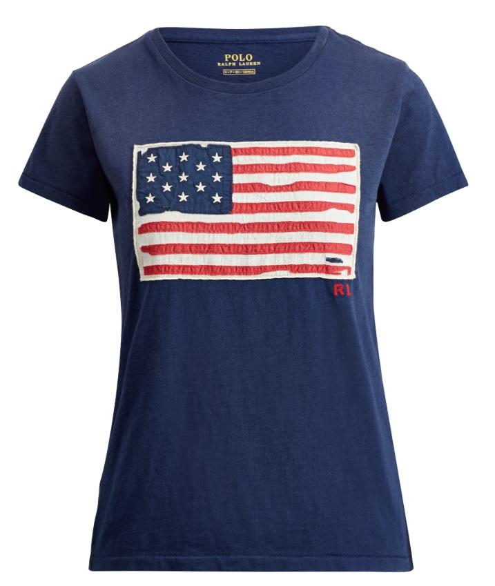ポロ ラルフローレン レディース Polo Ralph Lauren Flag Jersey Graphic T-Shirts Tシャツ 半袖 Blue