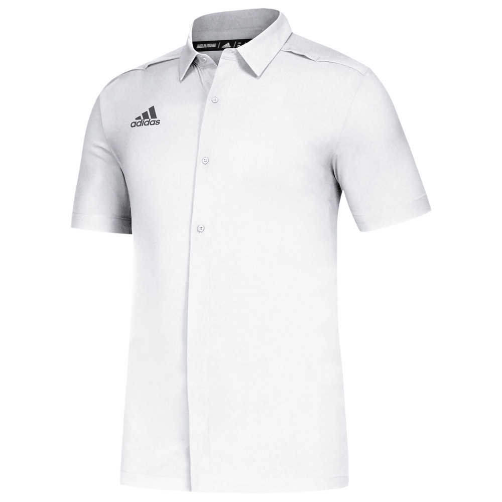 アディダス メンズ adidas Team Game Mode Full Button Polo ポロシャツ 半袖 White/Grey Five