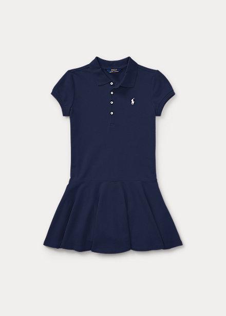 ポロ ラルフローレン 7-16 ガールズ/キッズ Polo Ralph Lauren Stretch Cotton Mesh Polo Dress ワンピース Navy 女の子