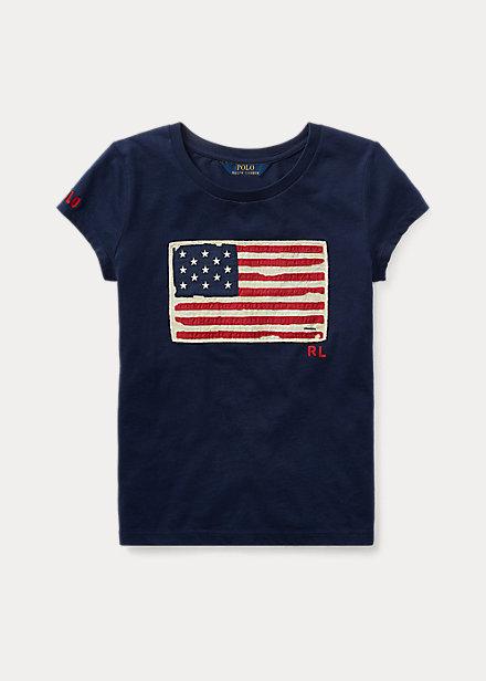 ポロ ラルフローレン 7-16 ガールズ/キッズ Polo Ralph Lauren Flag Cotton Jersey Tee Tシャツ 半袖 Newport Navy T-shirt 女の子