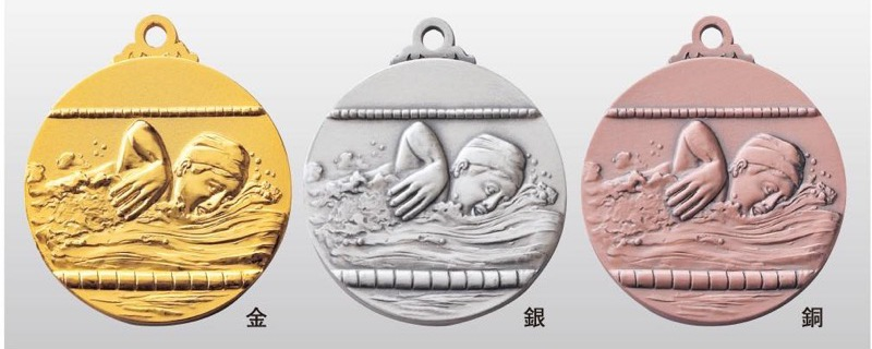 トロフィー工房のメダルは 高品質レーザー印字無料 10000円以上お買い上げで送料無料 SMメダル40mm 水泳 A-1 首掛けリボンあり キャンペーンもお見逃しなく 推奨 プラケース SM7119A