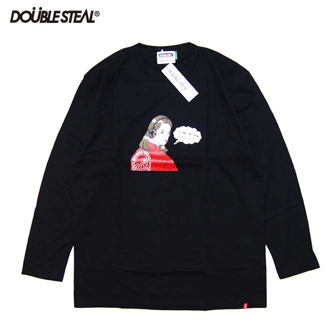 【2019FALL】DOUBLESTEAL(ダブルスチール) HEADPHONE GIRL L/S T-SHIRTS 長袖Tシャツ (BLACK) ロンTEE