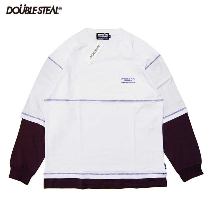 【2019FALL】DOUBLESTEAL(ダブルスチール) LAYERED STITCH L/S T-SHIRTS 長袖Tシャツ (WHITE/PURPLE) ロンTEE