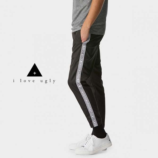 【セール/SALE-30】I LOVE UGLY(アイラブアグリー) Anton Track Pants (BLACK) トラックパンツ スキニー