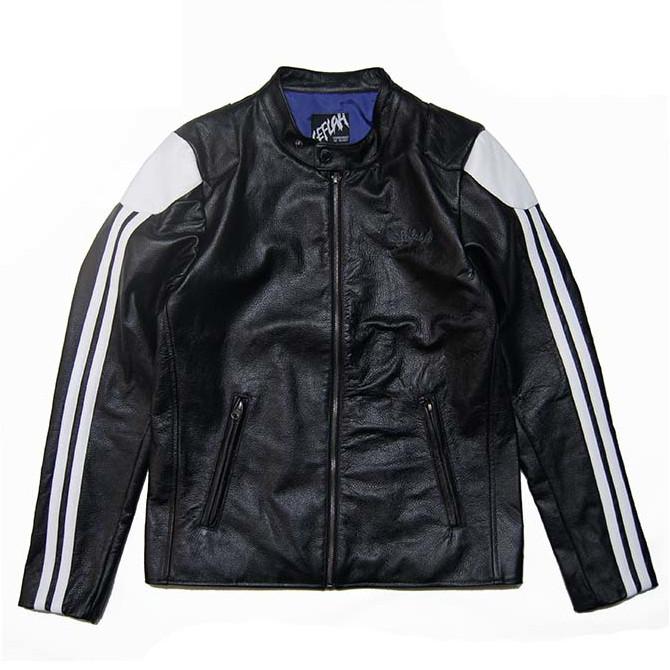 【セール/SALE-40】LEFLAH(レフラー) リアルレザーライダースジャケット(BLACK/WHITE)RIDER'S JACKET
