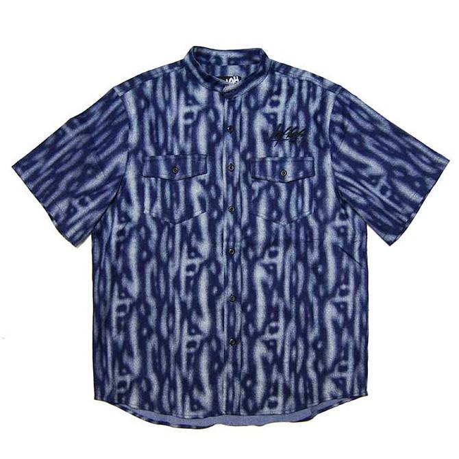 LEFLAH(レフラー) デニムノーカラーシャツ (NAVY) 半袖