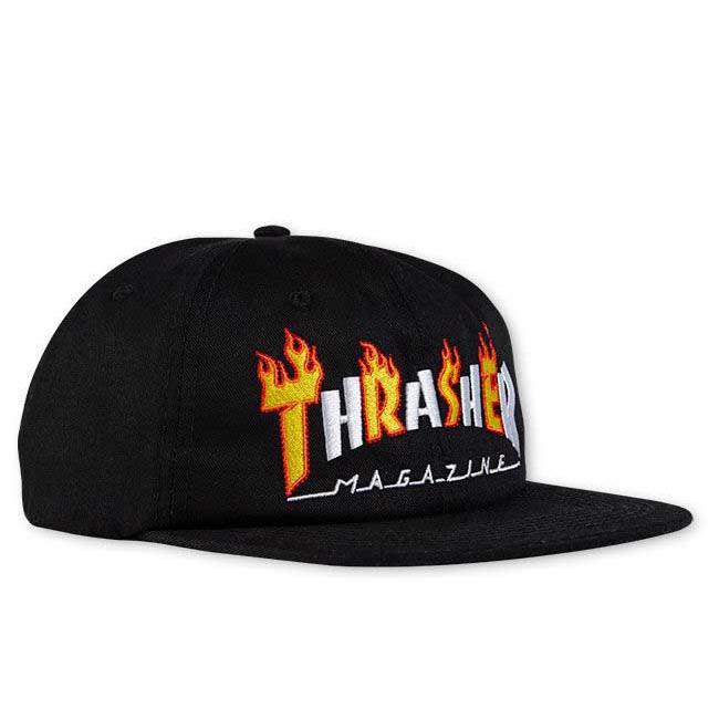 THRASHER(スラッシャー) Flame Mag Snapback CAP (BLACK) 刺繍 スナップバックキャップ【USA米モデル】