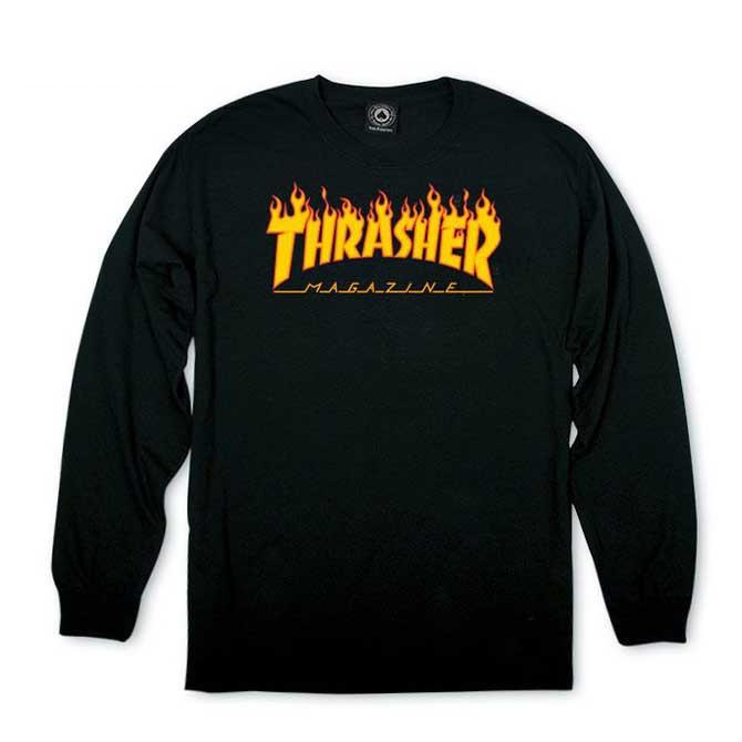 THRASHER(スラッシャー) Flame Logo Longsleeve T-SHIRTS TEE TS (BLACK) ロンTEE ロンティー 長袖Tシャツ【USA米モデル】