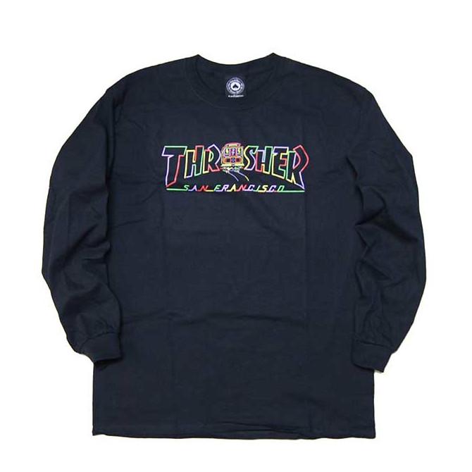 【2019-12月入荷】THRASHER(スラッシャー) CABLE CAR Longsleeve T-SHIRTS TEE TS (BLACK) ロンTEE ロンティー 長袖Tシャツ【USA米モデル】