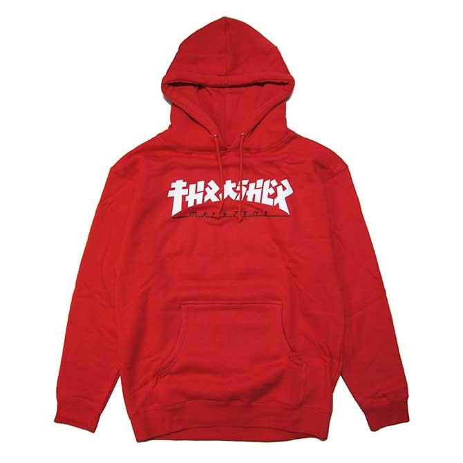 【限定】GODZILLA(ゴジラ) × THRASHER(スラッシャー) PULLOVER HOOD (RED) コラボ プルオーバーパーカー【USA米モデル】