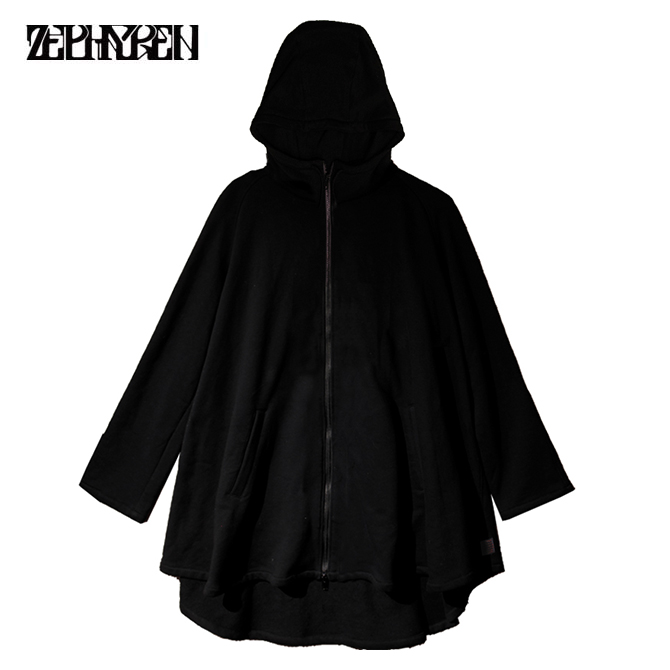 【セール/SALE-30】ZEPHYREN(ゼファレン) PONCHO ZIP PARKA (BLACK) ポンチョ ジップパーカー