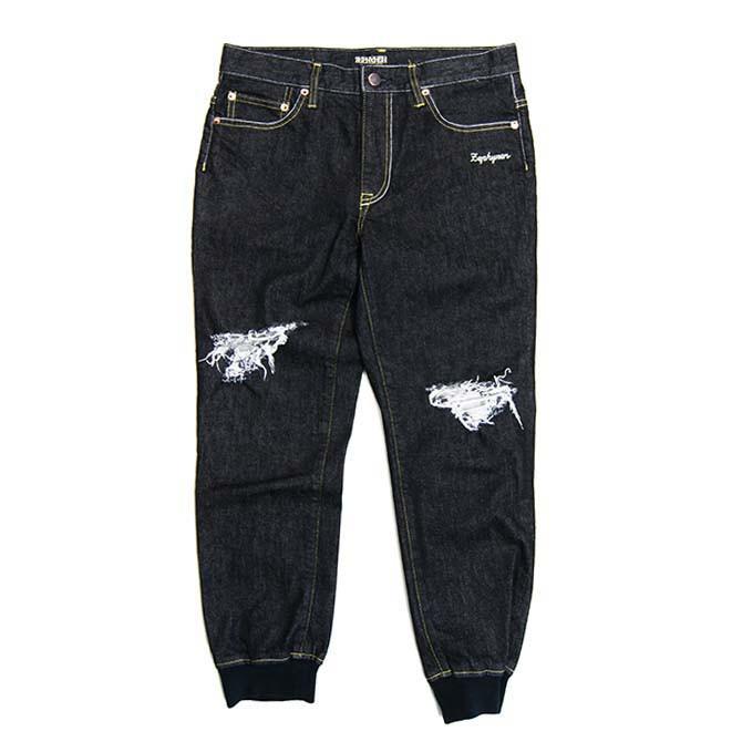 【セール/SALE-30】ZEPHYREN(ゼファレン) 8/L JOGGER PANTS (BLACK DENIM) 8分丈 ジョガーパンツ ダメージ